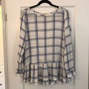 LOFT Roll Sleeve Blouse, Size M